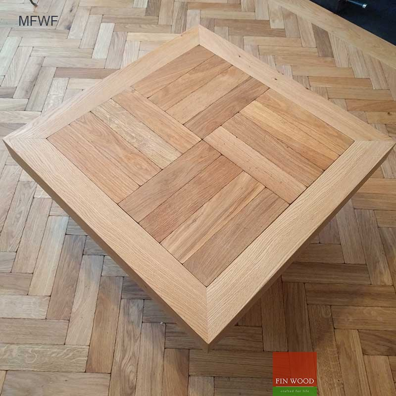 Cofee table from oak engineered parquet nad natural oak wood