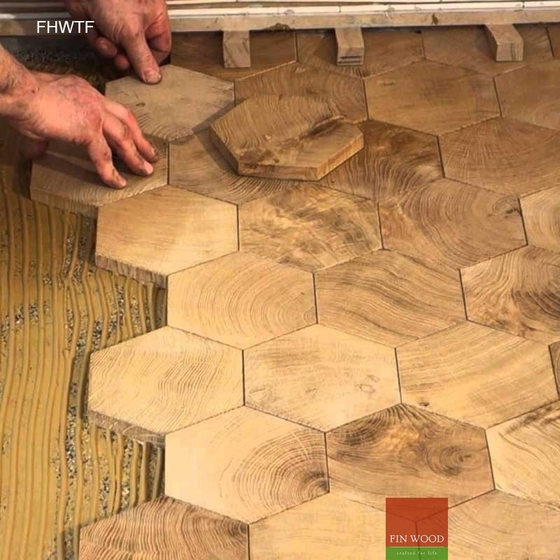 Fitting hexagon wood tiles floors hexagon parquet floor for Parquet hardwood flooring