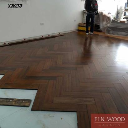 Herringbone solid parquet flooring