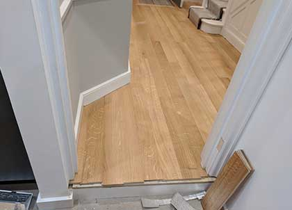 Undercut skirting boards means they can remain in place during the installation