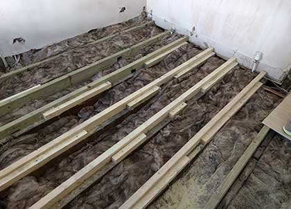 The joists have been strengthened by sistering the joists