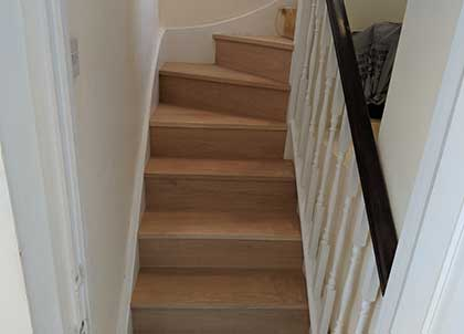 The renovated stairs have been completely transformed