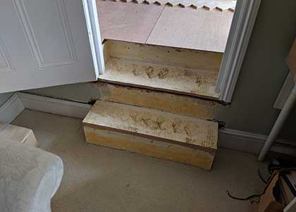 We reshaped and rebuilt the steps
