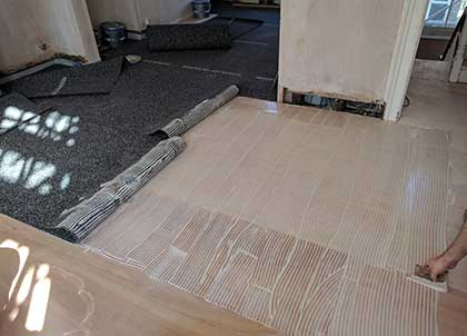 Membrane being glued into place