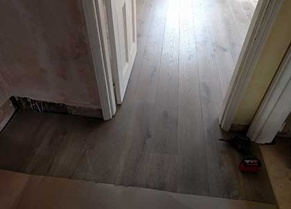 The end result, a fully soundproofed oak wooden floor