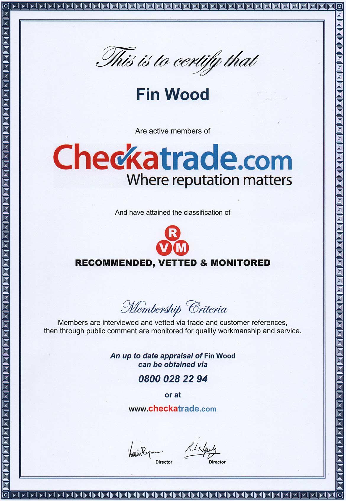 Checkatrade certificate