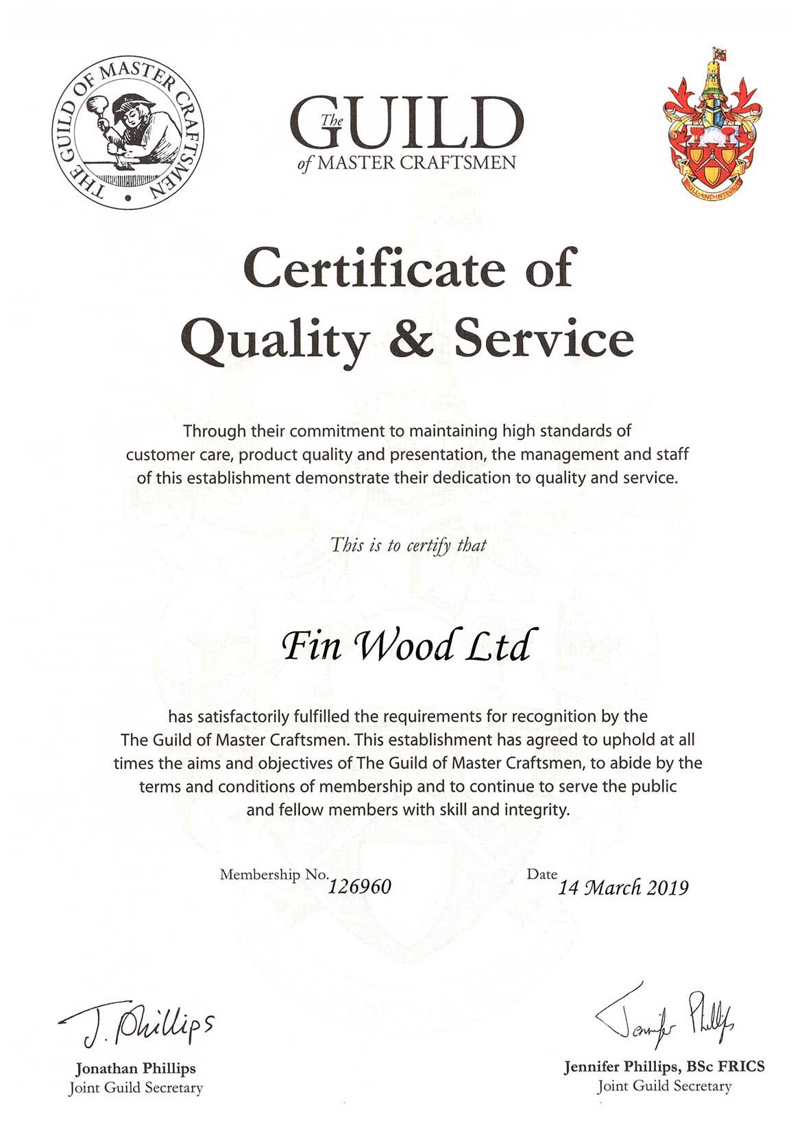 Guild of Master Craftsmen Certificate
