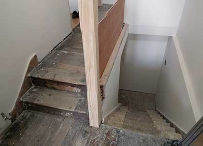 The old stairs stripped back