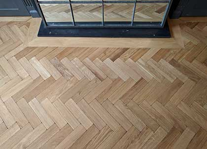 This engineered oak  parquet floor has been made and fitted to last