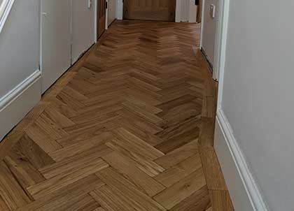 Hall with the new engineered oak parquet flooring