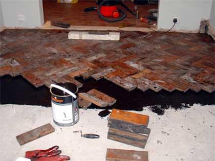 glued down wood floor with bitumen