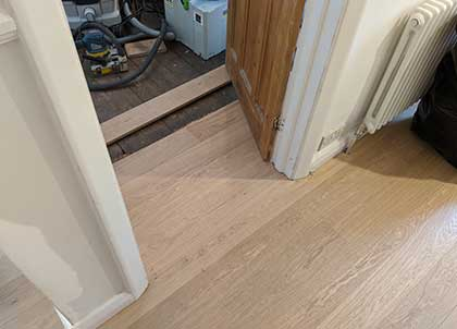 The floor was laid over the existing floorboards