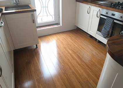 The lacquer gives the bamboo planks a gloss finish