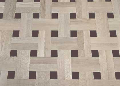 A loose basketweave design. For a high end look, a dark piece of wood can be laid in the centre