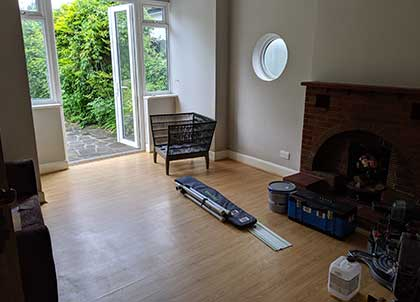 The existing laminate floor was removed