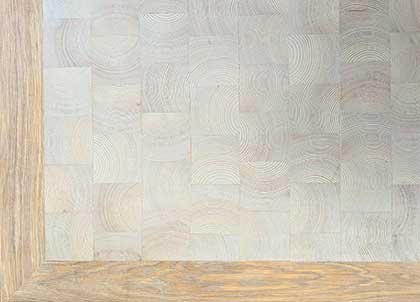 The pine square blocks with an oak border