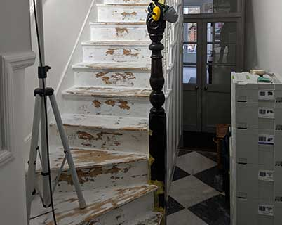 Sanding stairs renovation