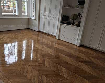 The freshly oiled floor