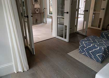 A flawless transition between two different flooring materials