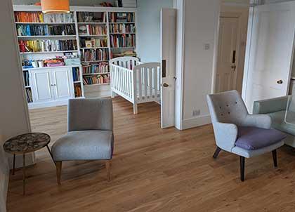 Engineered oak flooring in the living room and playroom