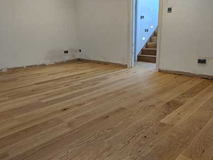 The wider prime grade wood flooring and stairs