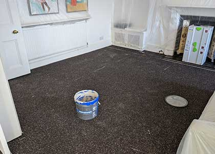 The Impact Sound Reduction Membrane in the living room