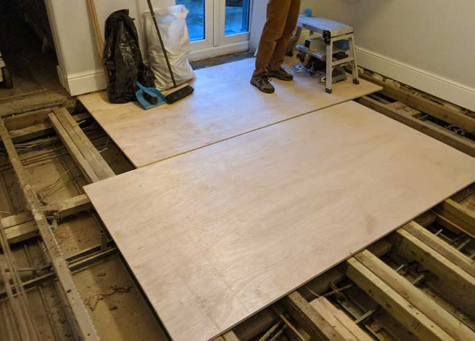 We used new large sheets of plywood to strengthen the subfloor #CraftedForLife