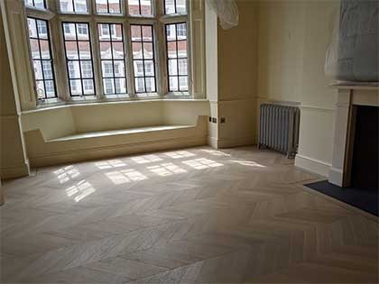 Oak chevron floor in the sunny spacious living room #CraftedForLife