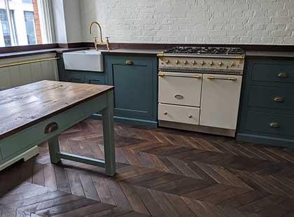 Old hand made oak vintage chevron parquet installed in Victorian kitchen Fin Wood #CraftedForLife