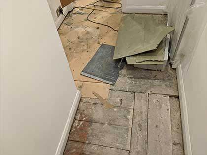 The old subfloor had to be removed