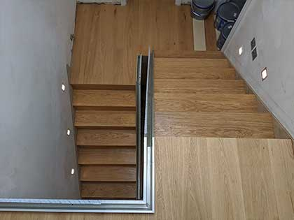 The clean, modern design of the stairs