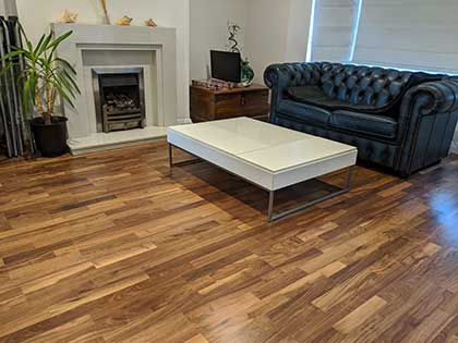 The new engineered walnut floor in the living room