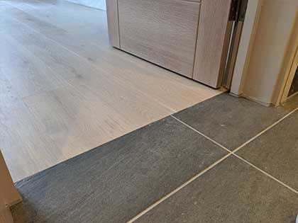 More attention to detail with a perfect wood floor to tile transition #CraftedForLife