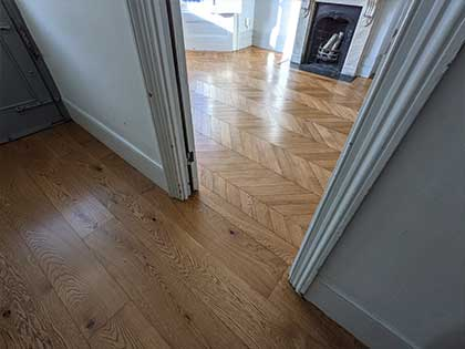 Chevron parquet next to the boards gives an unexpected wow effect #CraftedForLife