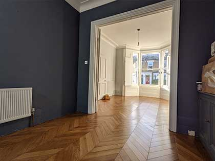 Chevron parquet provides an extra special design statement in the living room #CraftedForLife