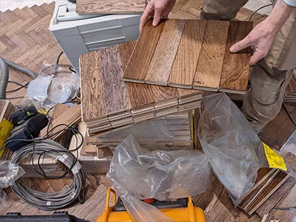Good engineered aged oak parquet floor lasts long with UFH #CraftedForLife