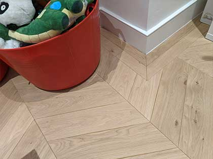 We created mitred angles to replicate the existing floor