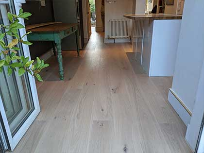 The project also included fitting new oak boards in the modern kitchen diner #CraftedForLife