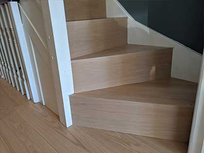 The upper staircase was modern and crisp #CraftedForLife