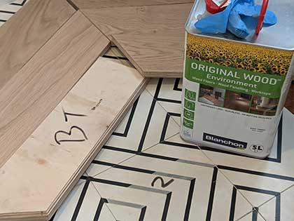 We applied three coats of Blanchon original wood environment oil #CraftedForLife