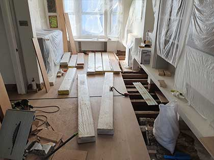 We used our skills and experience to straighten the subfloor #CraftedForLife