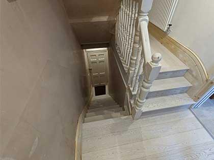White washed engineered oak was chosen for this top floor 'vertical flat' to brighten it's dark, narrow hallways #CraftedForLife