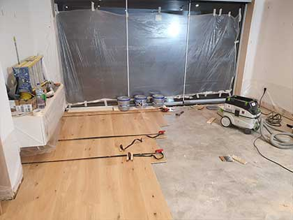 We checked that the light from the garden bifold doors would work well with the direction of the boards #CraftedForLife