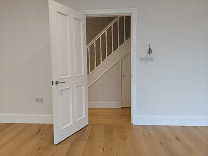 We also recommended the boards run lengthwise rather than sideways the hallway to showcase the beauty of the oak #CraftedForLife