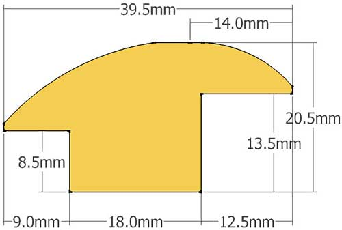 Door trim reducer solid oak - Dimensions