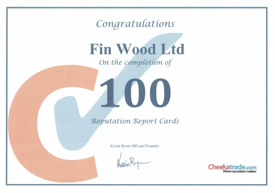 Checkatrade 100 reputation certificate