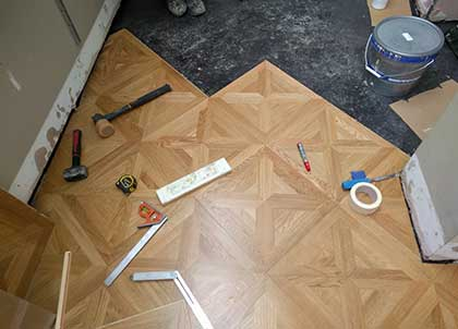 panels laid diagonally along the floor