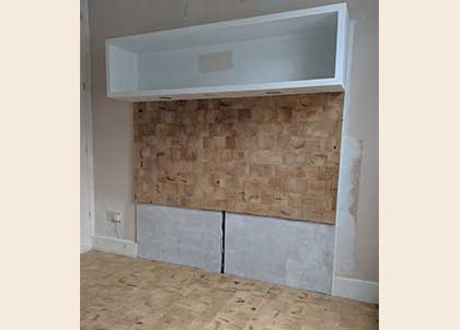 The bespoke floor and headboard