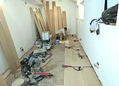 Work in progress, the new wood flooring being laid in the TV room