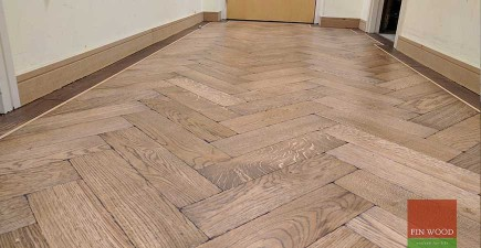 Oak Herringbone Parquet Installation and custom staining in SE10 North Greenwich, London